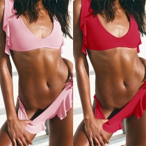 Sexy Low-waist Solid Color Ruffle Bikini Set