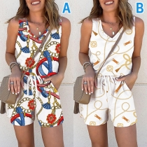 Chic Style Sleeveless V-neck Printed Top + Shorts Two-piece Set