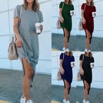 Simple Style Short Sleeve Round Neck Slit Hem SOlid Color T-shirt Dress