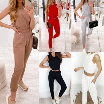 Fashion Solid Color Sleeveless Round Neck Crop Top + Pants Two-piece Set