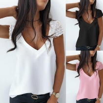 Fashion Lace Spliced Short Sleeve V-neck Solid Color Loose Top