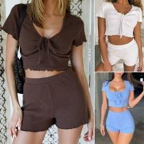 Sexy Drawstring V-neck Short Sleeve Crop Top + Shorts Two-piece Set