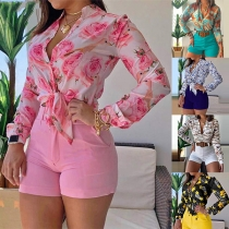 Fashion Long Sleeve Stand Collar Printed Top + High Waist Shorts Two-piece Set
