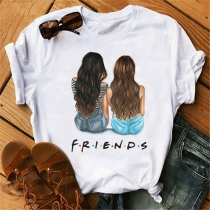 Casual Style Friends Printed Short Sleeve Round Neck Besties T-shirt