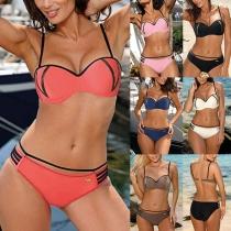 Sexy Low-waist Gold Spliced Push-up Bikini Set