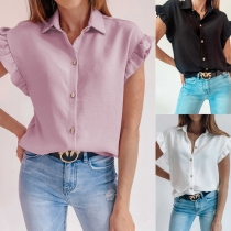 Sweet Style Lotus Sleeve POLO Collar Single-breasted Solid Color Shirt