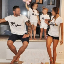 Casual Style Short Sleeve Round Neck Letters Printed Parent-child T-shirt