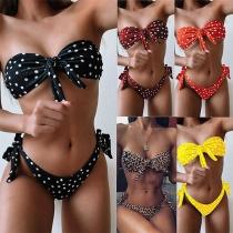 Sexy Low-waist Knotted Dots Printed Bandeau Bikini Set