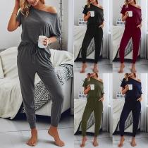 Sexy Oblique Shoulder Short Sleeve Solid Color Top + Pants Two-piece Set