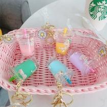 Creative Style Daisy Unicorn Milk Tea Bottle Pendant Key Chain
