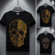 Fashion Rhinestone Skull Head Pattern Short Sleeve Round Neck Man's T-shirt