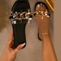 Fashion Flat Heel Open Toe Chain Spliced Outdoor Slippers