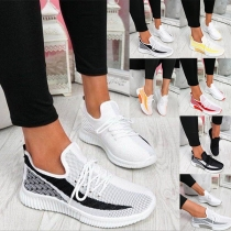 Sports Style Contrast Color Flat Heel Round Toe Lace-up Sneakers