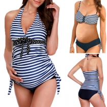 Sexy Backless V-neck Striped Printed Halter Bikini Set for Pregnant Woman