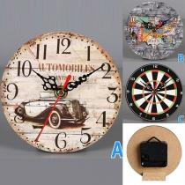Retro Style Round-shape Wooden Wall Clock