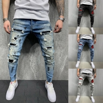 Casual Style Middle Waist Plaid Spliced Ripped Man's Jeans