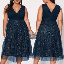 Fashion Sleeveless V-neck High Waist Gauze Spliced Hem Dress