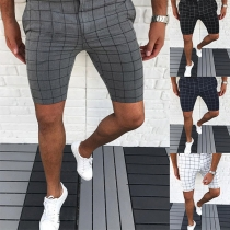 Fashion Middle Waist Slim Fit Man's Knee-length Plaid Shorts
