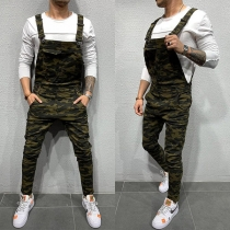 Casual Style High Waist Camouflage Printed Man's Overalls