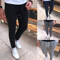 Casual Style Drawstring Waist Man's Striped Pants