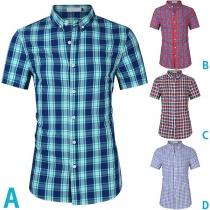 Fashion Short Sleeve POLO Collar Single-breasted Man's Plaid Shirt