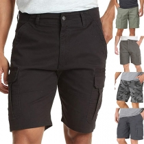 Casual Style Side-pocket Middle Waist Solid Color Knee-length Shorts for Man