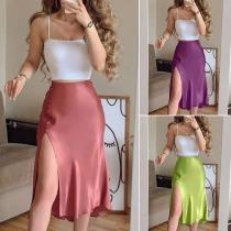 Sexy Backless Sling Crop Top + High Waist Slit Hem Skirt Two-piece Set