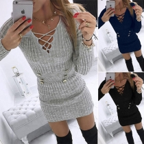 Sexy Hollow Out V-neck Long Sleeve Front-button Slim Fit Knit Dress