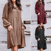 Casual Style Lantern Sleeve V-neck Solid Color Loose Dress
