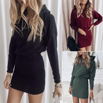 Fashion Solid Color Long Sleeve Hooded Slim Fit Dress