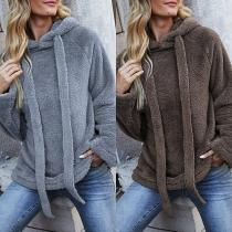 Fashion Solid Color Long Sleeve Drawstring Hooded Plush Sweatshirt