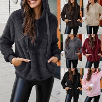 Casual Style Long Sleeve Drawstring Hooded Front-pocket Plush Sweatshirt