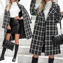 OL Style Long Sleeve Notched Lapel Double-breasted Houndstooth Windbreaker Coat
