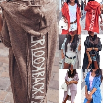 Chic Style 3/4 Dolman Sleeve Letters Printed Hooded Knit Cardigan