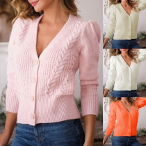 Simple Style Long Sleeve V-neck Single-breasted Solid Color Knit Cardigan
