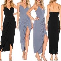 Sexy Backless V-neck Slit Hem Solid Color Sling Dress