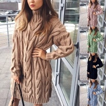 Simple Style Long Sleeve Turtleneck Solid Color Sweater Dress