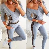 Fashion Leopard Spliced Long Sleeve V-neck T-shirt + Pants Two-piece Set