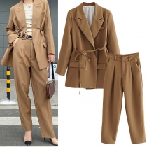 OL Style Long Sleeve Solid Color Blazer + High Waist Pants Suit Set