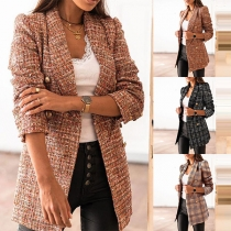 OL Style Long Sleeve Double-breasted Slim Fit Plaid Coat Blazer