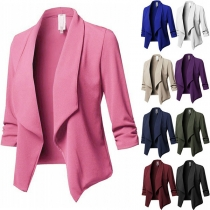 OL Style Long Sleeve Lapel Solid Color Slim Fit Blazer