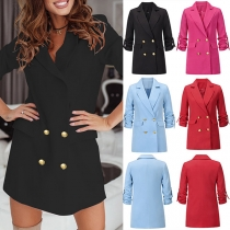 OL Style Long Sleeve Solid Color Double-breasted Suit Coat Blazer