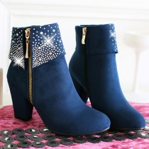 Fashion Rhinestone Inlaid Thick High-heeled Round Toe Ankle Boots Booties