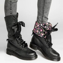 Retro Style Flat Heel Round Toe Lace-up Knight Boots