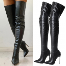 Sexy High-heeled Pointed-toe Back-zipper Over-the-knee Boots