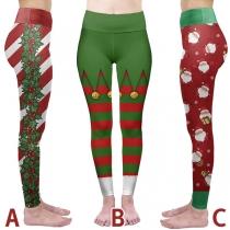 Cute Christmas Printed High Waist Stretch Sports Leggings