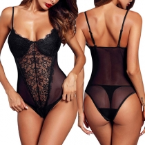 Sexy Backless Lace Spliced Sling See-through Gauze Bodysuit Lingerie
