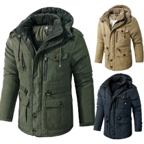 Fashion Solid Color Long Sleeve Hooded Lining Plush Man's Coat