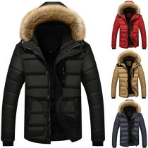 Fashion Faux Fur Spliced Detachable Hooded Long Sleeve Man's Padded Coat