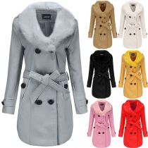 Fashion Solid Color Faux Fur Collar Long Sleeve Double-breasted Woolen Coat
